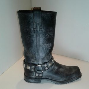 Frye Heath Stud Harness Black Leather Boots